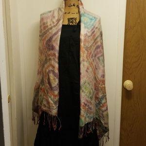 Vintage Tie Dye Fringe Shawl Scarf handmade Hippie
